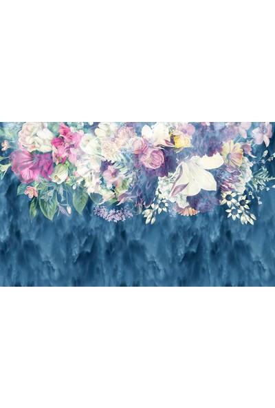 Duvar Kağıdı Marketi Renkli Mavi Çicekli Duvar Kağıdı