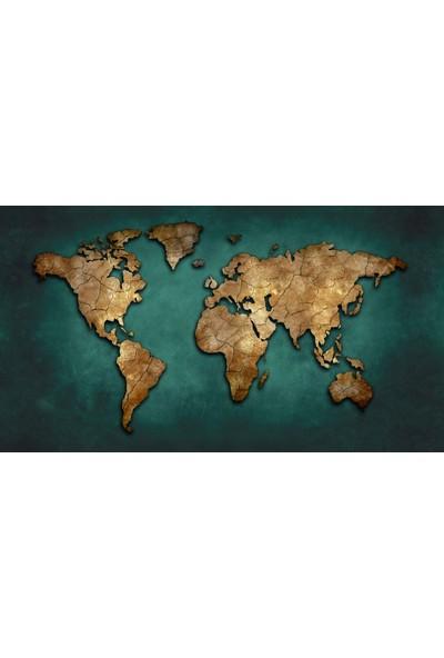 Duvar Kağıdı Marketi Turkuaz Renkli Harita Duvar Kağıdı