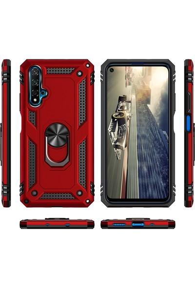 Happyshop Honor 20 Kılıf Ultra Korumalı Yüzüklü Manyetik Vega Kapak + Cam Ekran Koruyucu Kırmızı
