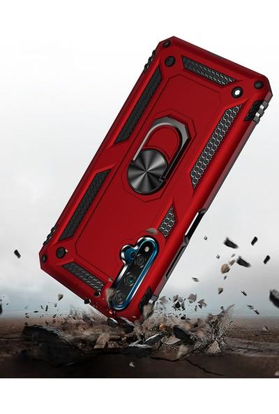 Happyshop Honor 20 Kılıf Ultra Korumalı Yüzüklü Manyetik Vega Kapak + Nano Cam Ekran Koruyucu Gold