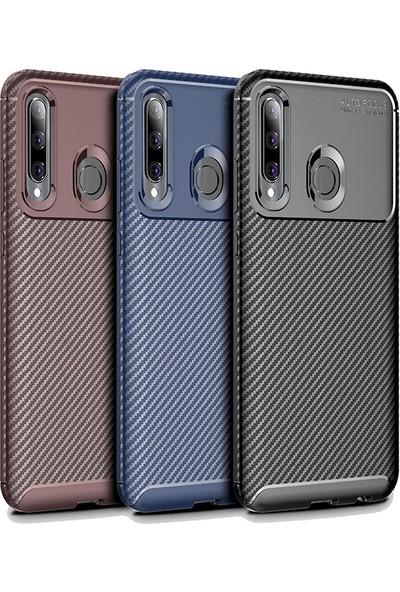 KNY Honor 20 Kılıf Karbon Desenli Lux Negro Silikon + Cam Ekran Koruyucu Siyah