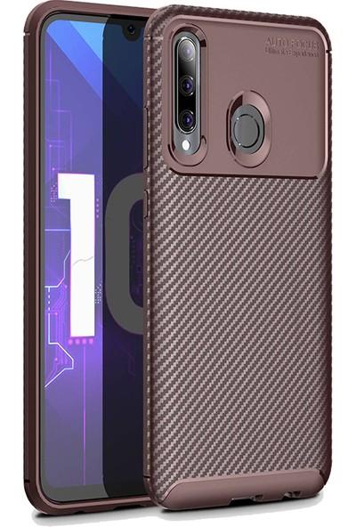 KNY Honor 20 Kılıf Karbon Desenli Lux Negro Silikon + Cam Ekran Koruyucu Kahverengi