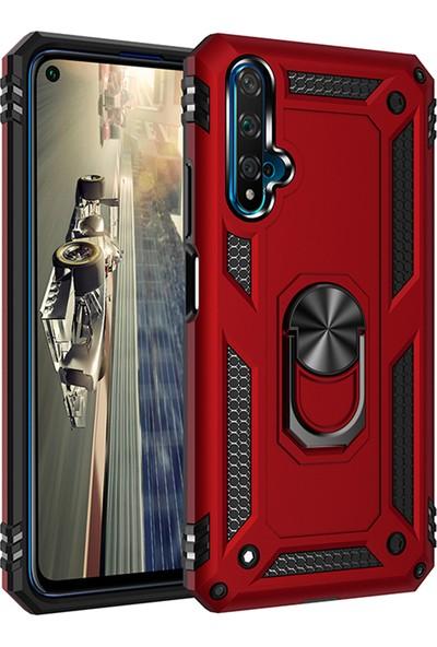 KNY Honor 20 Kılıf Ultra Korumalı Yüzüklü Manyetik Vega Kapak + Nano Cam Ekran Koruyucu Kırmızı
