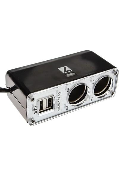 Tvet 1 Çakmaktan 2 USB 2 Çakmak Çıkış Çoklayıcı SK002638