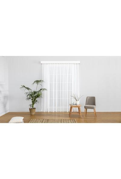 Gauze Fabric Design Natürel Sade Eteği Kurşunlu Keten Kırık Beyaz Tül Perde 100 x 260 Pilesiz