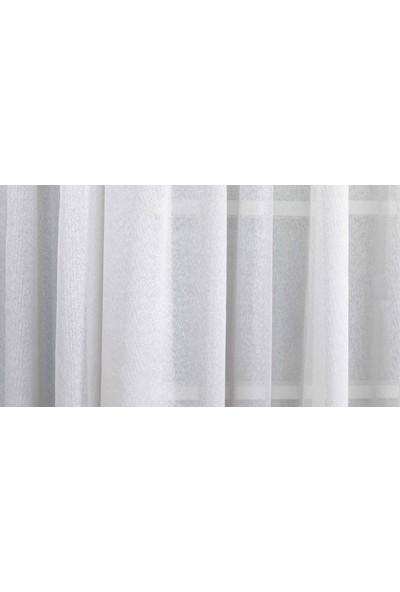Gauze Fabric Design Natürel Sade Eteği Kurşunlu Keten Gri Tül Perde 100 x 260 Pilesiz