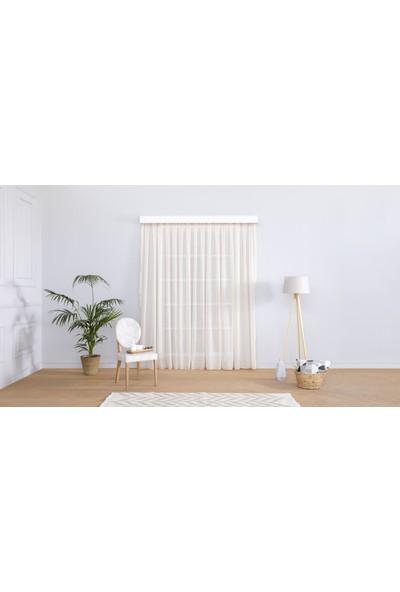Gauze Fabric Design Natürel Sade Eteği Kurşunlu Bej Tül Perde 100 x 260 Pilesiz