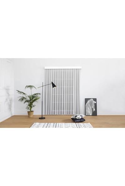 Gauze Fabric Design Natürel Keten Eteği Kurşunlu Gri Sade Tül Perde 100 x 260 Orta Pile