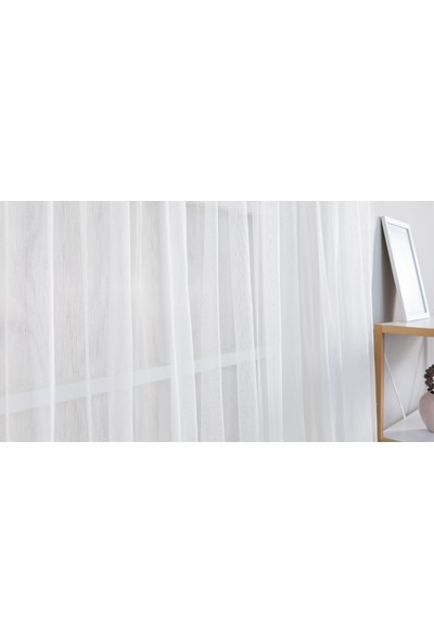 Gauze Fabric Design Sade Eteği Nakışlı Petek Zemin Kırık Beyaz Tül Perde 100 x 260 Seyrek Pile