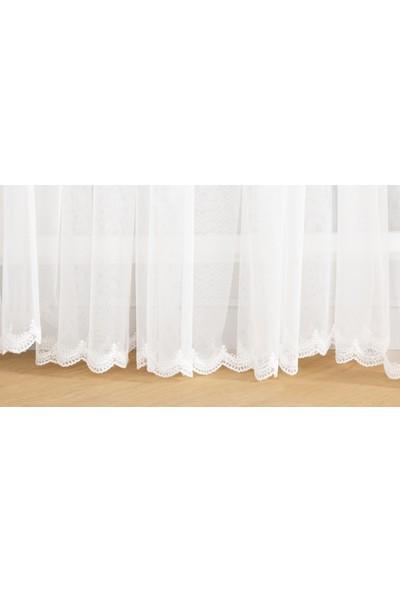 Gauze Fabric Design Sade Eteği Nakışlı Petek Zemin Kırık Beyaz Tül Perde 100 x 260 Pilesiz
