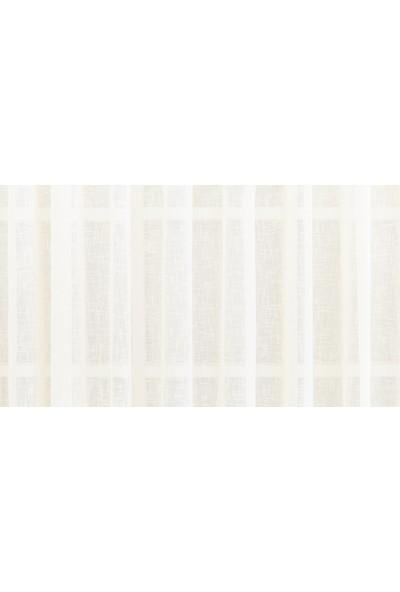 Gauze Fabric Design Keten Eteği Kurşunlu Krem Düz Tül Perde 100 x 260 Orta Pile