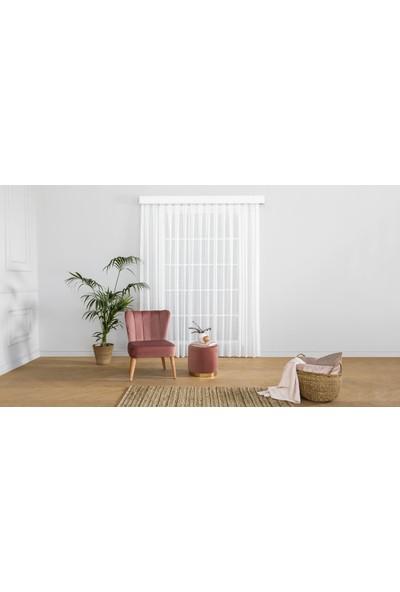 Gauze Fabric Design Tül Eteği Dilimli Damla Örme Kırık Beyaz Tül Perde 100 x 260 Pilesiz