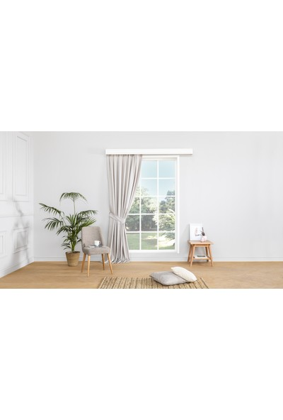 Gauze Fabric Design Erbe Açık Gri Fon Perde 50 x 260 Pilesiz