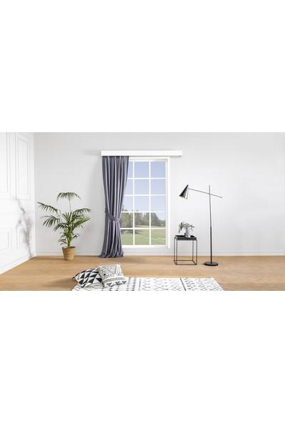 Gauze Fabric Design Erbe Gri Fon Perde 50 x 260 Orta Pile