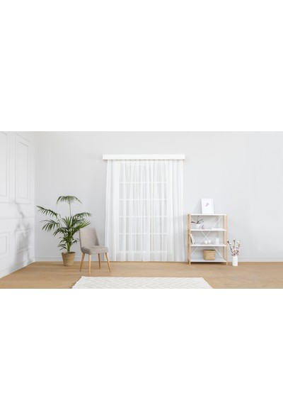 Gauze Fabric Design Sade Eteği Kurşunlu Kırık Beyaz Tül Perde 100 x 260 Seyrek Pile