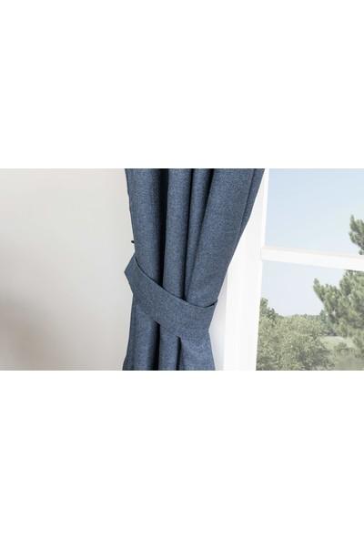 Gauze Fabric Design Verona Koyu Lacivert Fon Perde 50 x 260 Seyrek Pile