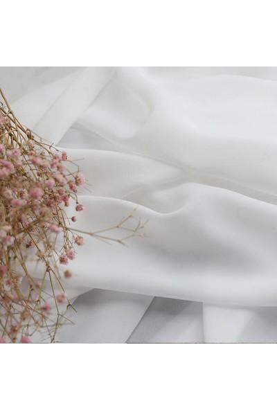 Gauze Fabric Design Hazır Dikilmiş Pileli Düz Tül Perde Kırık Beyaz 100 x 260 Orta Pile