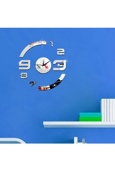 Birtopal Modern Nesil Dıy 3D Dekoratif Büyük Boy Sticker Duvar Saati