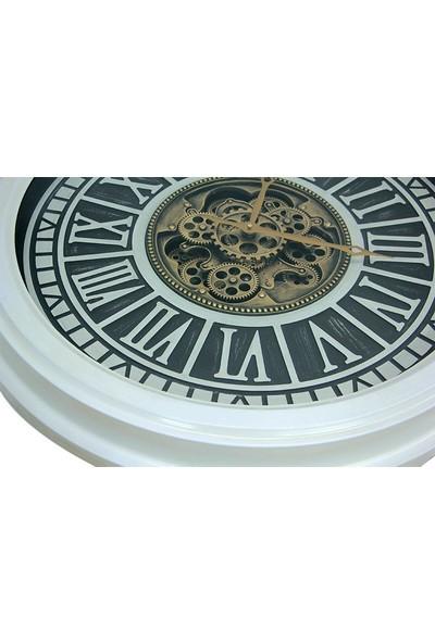 Crownwell Yuvarlak Roma Rakamlı Beyazoksit Çarklı Metal Duvar Saati