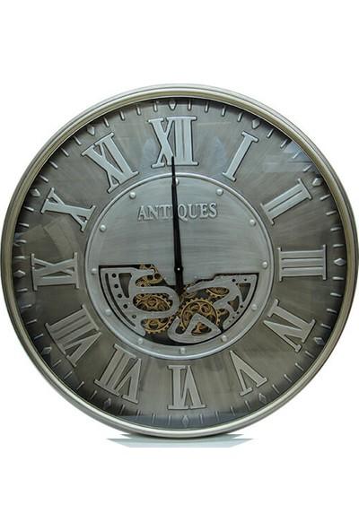 Crownwell Yuvarlak Antique Yeşiloksit Çarklı Metal Duvar Saati