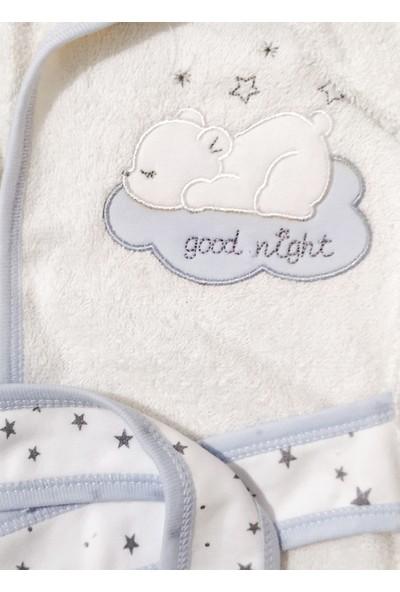 Gaye Erkek Bebek Bornoz Seti - Yıldızlı - Good Night - 0-6 Ay