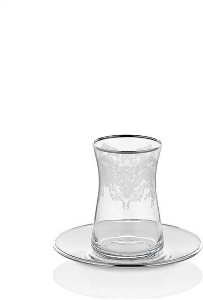 Oyks Carat 6lı Cam Çay Seti Gümüş Yaldızlı