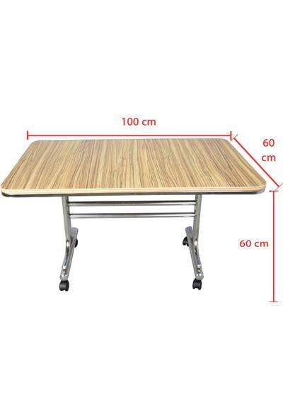 Iyimi Pratik Orta Sehpa Nikelaj Ayaklı Tekerlekli Masa 60 x 100 cm