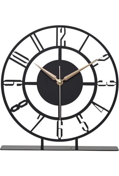 Muyika Bunnela Metal Siyah Masa Üstü Saati 25X23CM