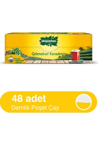 Doğadan Geleneksel Karadeniz Bergamot Aromalı 48'lik Demlik Poşet Çay (153 gr)