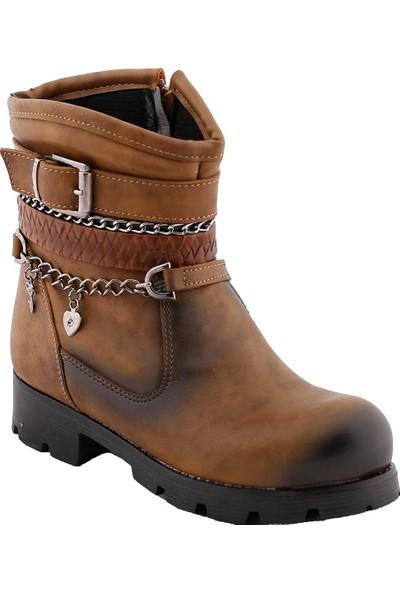 Elifsu 1830 Günlük Termo Taban Fermuarlı Kız Çocuk Bot Ayakkabı Vizon