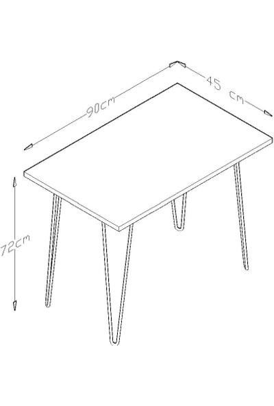 Tocco 1014 Damla Beyaz Mermer Desenli Metal Ayaklı Çalışma Masası