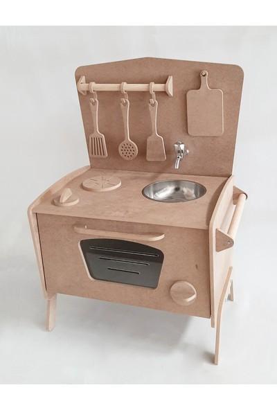 Montesev Çocuk Oyuncak Evi Mutfak Seti - Tezgah Dolap Ahşap Montessori Oda