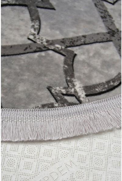 Diji Dekor Otto Gri Oval Saçaklı Halı Battaniye Yüzey Yıkanabilir Antibakteriyel Antistatik 80 x 50 cm