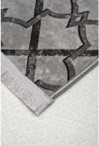 Diji Dekor Otto Gri Saçaklı Halı Battaniye Yüzey Yıkanabilir Antibakteriyel Antistatik 80 x 50 cm