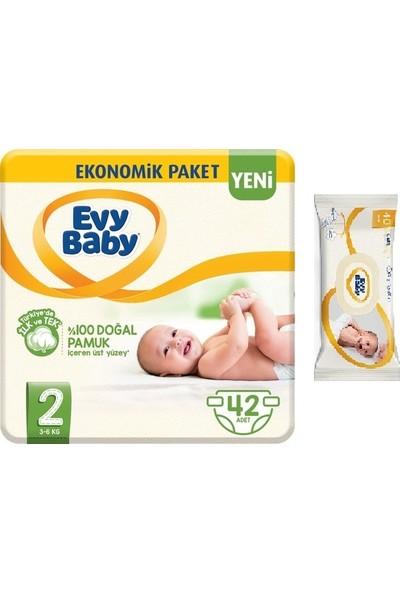 Evy Baby Bebek Bezi 2 Beden Mini 42 Adet + 40 Adet Islak Mendil