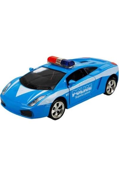 Maxx Wheels Sesli ve Işıklı Polis Arabası 13 cm Mavi