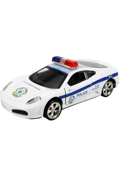 Maxx Wheels Sesli ve Işıklı Polis Arabası 13 cm Beyaz
