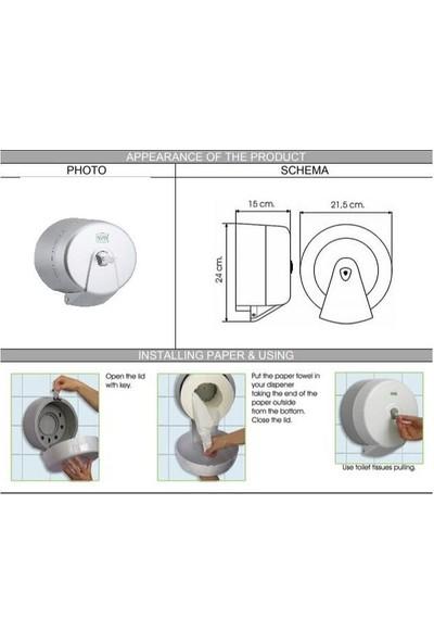 Vialli K3M Mini Cimri Içten Çekme Tuvalet Kağıdı Dispenseri Gri