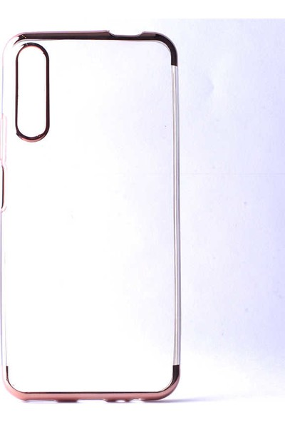 Tekno Grup Huawei P Smart Pro 2019 Kılıf Dört Köşe Renkli Lazer Silikon + Cam Ekran Koruyucu Rose