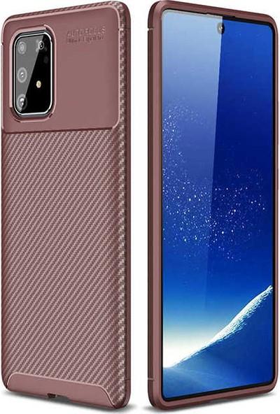 Tekno Grup Samsung Galaxy A81 (Note 10 Lite) Kılıf Karbon Desenli Lux Negro Silikon + Nano Ekran Koruyucu Kahverengi