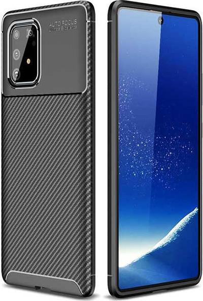 Tekno Grup Samsung Galaxy A81 (Note 10 Lite) Kılıf Karbon Desenli Lux Negro Silikon Siyah