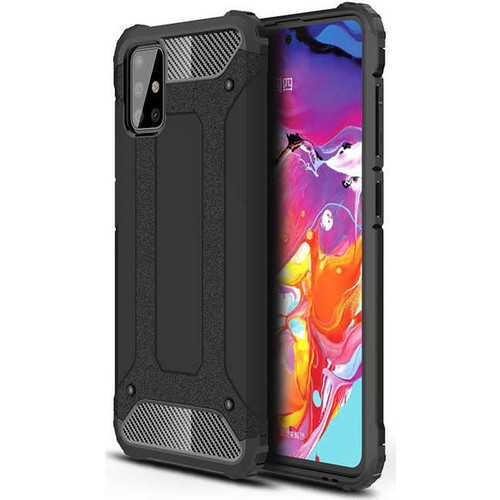 Case 4U Samsung Galaxy A51 Kılıf Çift Katmanlı Zırh Koruma Tank Crash Arka Kapak + Cam Ekran Koruyucu Siyah