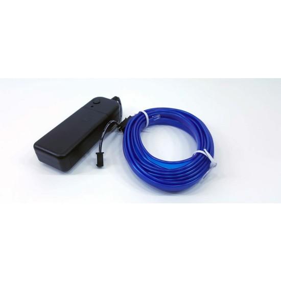 3Metre İp Neon Led Fitili Mavi-Kumandalı 3 Modlu Pilli İnverterli
