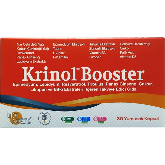Krinol Booster - Epimedyum, Lepidyum, Resveratrol ve Likopen - 30 Kapsül - 1 Kutu