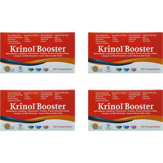 Krinol Booster - Epimedyum, Lepidyum, Resveratrol ve Likopen - 30 Kapsül - 4 Kutu