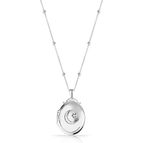 Azuris Omr1356 925 Ayar Gümüş Kapaklı Madalyon Ayyıldız Kolye