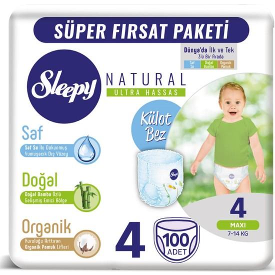 Sleepy Natural Mega Paket 4 Beden Maxi Külot Bez 100 Adet