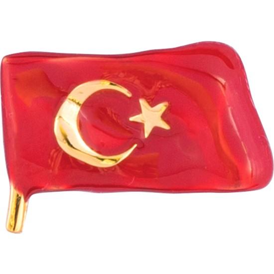 Taç Altın Kaplama Mineli Türk Bayrak Rozeti