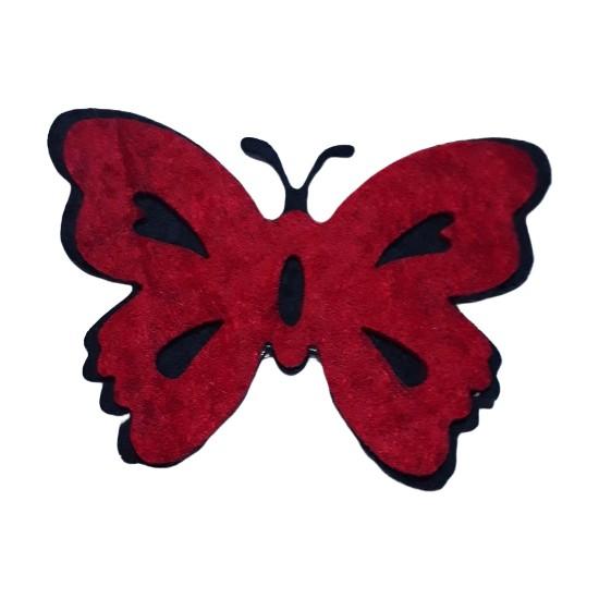Dünya Hediye 4,5 cm Keçe Kırmızı Kelebek 10'lu Paket