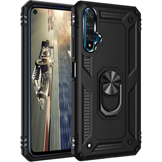 Coverzone Honor 20 Kılıf Shockproof Standlı Yüzük Tutuculu Mega Case Vega100 Siyah